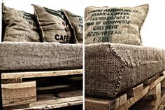 pallet couch with coffee sack pillows