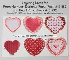 2020 Stampin Up! Mini catalog sneak peek & video (Patty's Stamping Spot) Cathy Harker 2020 Stampin Up! Mini catalog sneak peek & video (Patty's Stamping Spot) 2020 Stampin Up! Valentine Love Cards, Valentines, Valentine Ideas, Paper Hearts, Heart Cards, Stamping Up, Paper Design, Stampin Up Cards, Holiday Cards