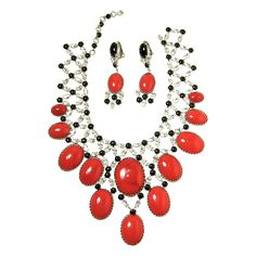 Schreiner Rare Rhinestone Large Bib necklace And Earrings Set   From a unique collection of vintage drop necklaces at https://www.1stdibs.com/jewelry/necklaces/drop-necklaces/