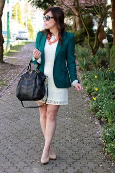 Green AT blazer & camel sweater & polka dot pants & brown AT pumps ...