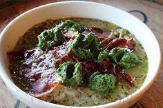 PEAS, PROSCIUTTO, PESTO (from http://fabioviviani.com/general-recipes/peas-prosciutto-pesto/)