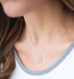 Large Geometric Heart Pendant, Yellow Gold Vermeil