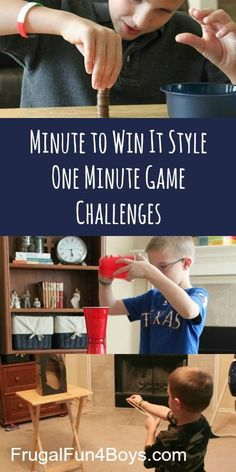 Family Game Night: Minute to Win It One Minute Challenges - This would be so fun to do with friends over!