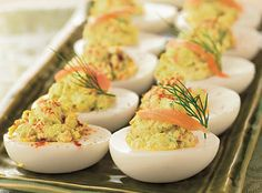 Spring Hill Ranch's Smoked Salmon Deviled Eggs --So good!! Easter Recipes, Egg Recipes, Appetizer Recipes, Cooking Recipes, Appetizers, Salmon Recipes, Tapas, Smoked Salmon Cream Cheese, Smoked Bacon