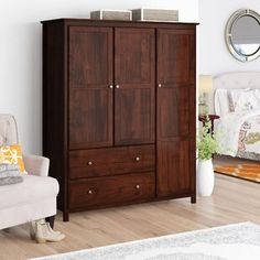 Three A Small Armoire Wardrobe – Home Ideas Closet Design, Wardrobe Furniture, Wardrobe Armoire, Beachcrest Home, Furniture, Home, Interior, Wood Furniture, Adjustable Shelving