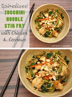 YUM! Spiralized Zucchini Noodle Stir Fry with Chicken  Cashews - I love healthy food that tastes amazing, and this recipe is one of my favorites!