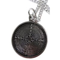 Don't get lost in this maze! Hand cast pewter pendant on a chain.