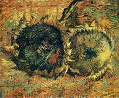 Still Life with Two Cutted Sunflowers, 1887. Vincent van Gogh