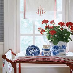 Fresh Classic Red White & Blue Color Scheme in a Summer cottage for fourth of July decor