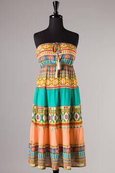 $44 aztec sun dress, turquoise sundress, aztec summer dress