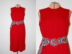 Vintage 1960s Long Cherry Red Sleeveless Pleated Dress by GazelleStar, $30.00