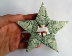 I want to find these hanging on my Christmas tree!!!  5 point star money origami tutorial,If you're giving a cash gift, then I think that these money origami stars make a wonderful way to give it. Usually, cash seems like a bit of an impersonal gift, but I think that by folding it into something beautiful you give it a personal touch and it becomes a much more meaningful and memorable gift.