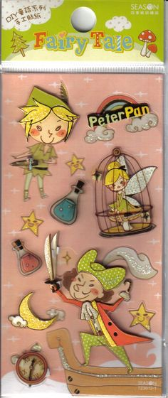 Kawaii Fairy Tale Peter Pan 3-D Stickers, sold by Cute Paper Etc. on Etsy.