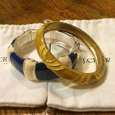 2 J.Crew bangles! These beautiful bangles really dress up an outfit in such an effortless way. Mix and match with other colors and widths of bracelets! Originally $39.50 (yellow) & $88 (blue)! Also listed individually. J. Crew Jewelry Bracelets