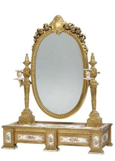 Napoleon III ormolu, giltwood and Sevres style pink-ground porcelain-mounted dressing-table mirror