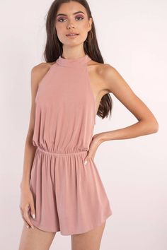 """Search """"Amber Mauve Halter Romper"""" on Tobi.com! high neck mock halter sleeveless cinched waist playsuit #ShopTobi #fashion #summer #spring #vacation Basic outfit simple easy chic fashionable stylish style fashion vacation travel essential capsule wardrobe must have casual comfy comfortable trendy spring summer shop buy cheap inexpensive ideas for women teens cute edgy closet fall college outfit outfits"""