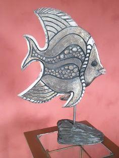 Les Raku et Peintures de Chris: Poisson sur socle