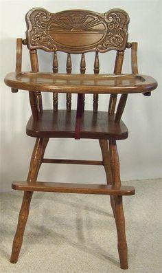 Amish Sunburst Wooden High Chair