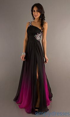 Ombré One Shoulder Gown for Prom by Nina Canacci at PromGirl.com