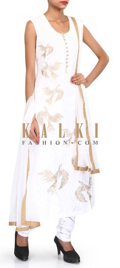 Buy Online from the link below. We ship worldwide (Free Shipping over US$100). Product SKU - 304342.Product Link - http://www.kalkifashion.com/white-suit-adorn-in-zari-in-bird-motif-only-on-kalki.html