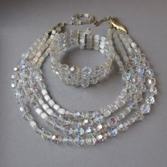 4 Strand Czech Crystal Atlas Glass Beads Necklace & Memory