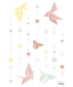 Sticker chambre enfant papillons pastel
