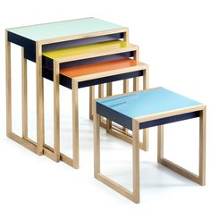 Josef Albers  Nesting Tables by Bauhaus Artist  Widely regarded as one of the pioneering masters of twentieth-century Modernism, Josef Albers' designs are truly iconic. The re-issue of the Bauhaus artist and educator's Nesting Tables proves that only great design stands the test of time.