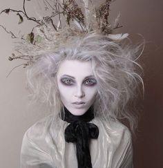 Tim Burton inspired makeup - hollow eyes and white eyelashes - by White Rabbit Make Up Artist by That Long Hair Girl