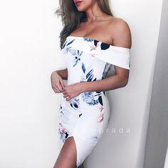 NEW ARRIVAL  // Camellia White Floral Off Shoulder Dress  Shop: Emprada.com