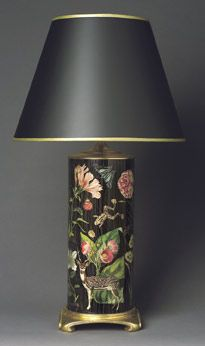 Love this!  Lovely Black Table Lamp with pretty decoupaged floral....make a dumpy looking old out dated lamp from thrift store look amazing.