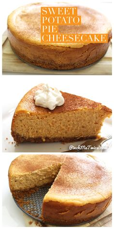 Sweet Potato Pie Cheesecake – Pinch Me Twice - Vegan Cheesecake Recipes Sweet Potato Cheesecake, Cheesecake Pie, Cheesecake Recipes, Pie Recipes, Recipies, Fall Recipes, Sweet Potato Cobbler, Sweet Potato Dessert, Pumpkin Recipes
