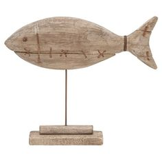 ,wooden fish on stand for coastal decor