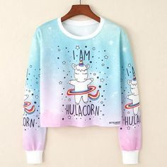 I Believe In Unicorns Cropped Pink Sweatshirt