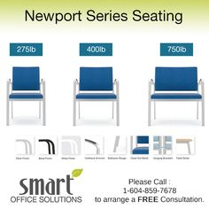 All Newport products are available in fabric, healthcare vinyl, Crypton, SOM and COM options, as well as metal finish selections such as: Silver, Black and White. Please contact us for more information 1-604-859-7678. Smart Office, Outdoor Chairs, Outdoor Decor, Metal Finishes, Newport, The Selection, Health Care, Black And White, Fabric
