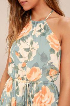 Precious Memories Light Blue and Peach Floral Print Maxi Dress 11