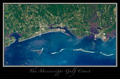 Gulf Coast of Mississippi Satellite Poster Map