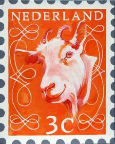 Postzegel III - Painting by Wendy Tjalma  www.uitdedoeken.nl