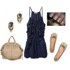 navy & gold #summer #outfits #polyvore