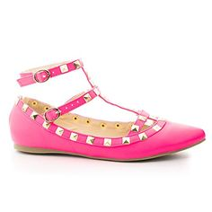 Mila62 Pink Pointy Toe Pyramid Studded Strappy Double Buckle Dress Flat85 >>> To view further for this item, visit the image link.