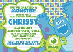 Monsters Inc Baby Shower Invitation Print At by ChrispixsCreations