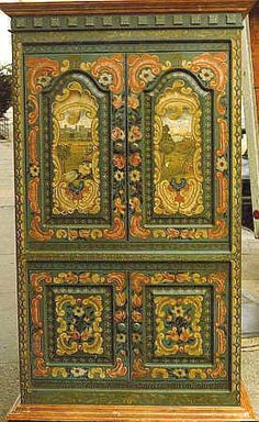 Bauernmalerei painted TV-cabinet , baroque design     with family residence