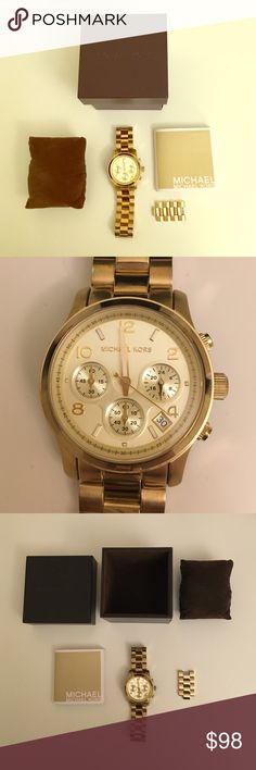 Michael Kors Gold Watch Oversized Runway Gold-Tone Chrinigraph Watch. Push clasp closure. Stainless steel with 3 chronograph accents. Dial to note day of month. 38mm. Comes with original box, instructional packet, and additional links that were originally taken off for sizing. Please note battery is dead and would need to be replaced. Scratch on band and crystal and images should be referenced. Michael Kors Accessories Watches