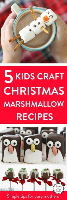 5 brilliantly simple to make Christmas marshmallow craft recipes for kids to make and keep them occupied in the run-up to Christmas. Each recipe has minimal ingredients and maximum fun involved in making them!