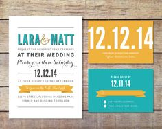 Modern Wedding Invitation and RSVP Bold by PaperRouteCollective, $10.00