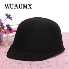 d3da53b263c89  Wuaumx  Vintage Winter Fedoras Hat For Female Equestrian Cap Parent Child  Cap Lady Girls
