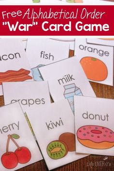 Learning alphabetical order has never been so fun! Your kids begging for more as they 'war' to see which foods come first in alphabetical order!