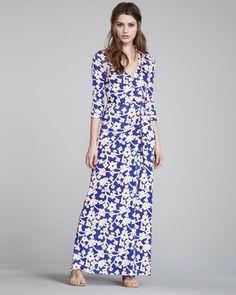 NWT $595 Diane von Furstenberg Abigail Maxi Wrap Dress Burma Rose s 12 #DVF