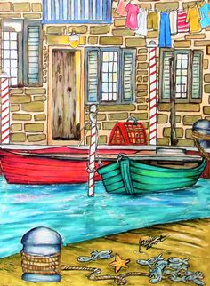 """From """" Summer Scenes """" by Teresa Goodridge. Done with Prisma pencils. Spring Scene, Summer Scenes, Creative Haven Coloring Books, Country Scenes, Color Pencil Art, Heart For Kids, Coloring Book Pages, Adult Coloring, Colored Pencils"""