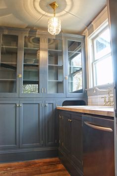 Chic Design Investments: Original Foursquare Kitchen Upper Cabinets Salvaged  And Built In As A