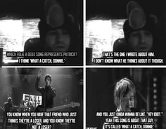 Pete Wentz talking about What a Catch, Donnie <<< Wow I'm crying